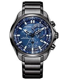 Men's Chronograph Eco-Drive Sport Luxury Gray-Tone Stainless Steel Bracelet Watch 43mm