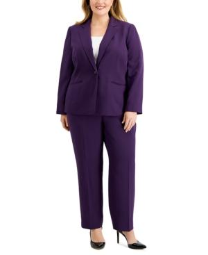 Plus Size One-Button Blazer & Straight-Leg Pant Suit