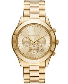 Men's Slim Runway Chronograph Gold-Tone Stainless Steel Bracelet Watch 44mm