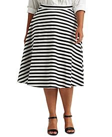 Plus-Size Striped Cotton-Linen Skirt