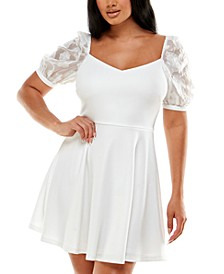 Juniors' Shimmer Puff Sleeve Dress