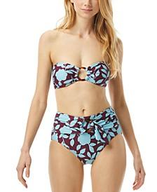 Ring Bandeau Bikini Top & Belted High-Waist Bikini Bottoms