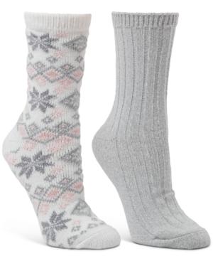 2-Pk. Snowflake Fair Isle & Ribbed Crew Boot Socks