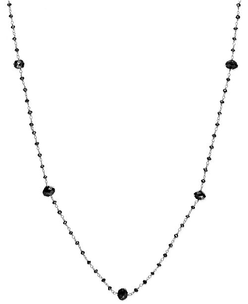 Macy's Black Diamond Station Necklace in 14k White Gold (10 ct. t.w.)