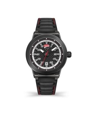 Men's Paddock Black Genuine Leather Strap Watch 45mm