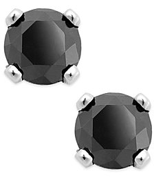 Black Diamond Round Stud Earrings in 10k White Gold (1/4 ct. t.w.)