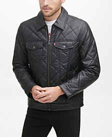 Men's Faux Leather Quilted Trucker Jacket