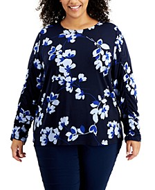 Plus Size Printed Scoop-Neck Ruched-Sleeve Top