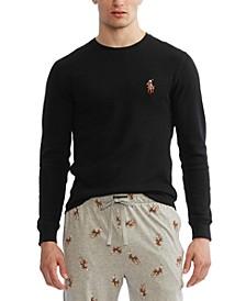 Men's Waffle Knit Denim Bear Logo Long-Sleeve Sleep Shirt, Created for Macy's