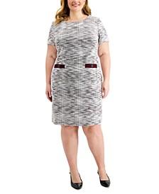 Plus Size Jacquard Sheath Dress