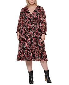Plus Size Floral-Print Tiered-Hem Dress