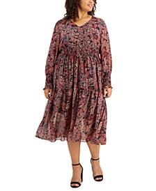 Plus Size Smocked Midi Dress