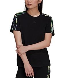 Women's Cotton Floral-Print-3-Stripes T-Shirt