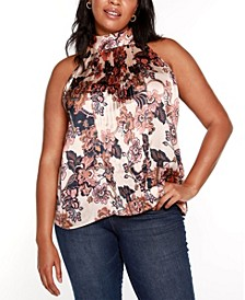 Black Label Plus Size Floral Pleated Halter Top with Tie Neck