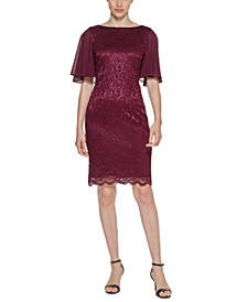 Petite Sheer-Sleeve Lace Sheath Dress
