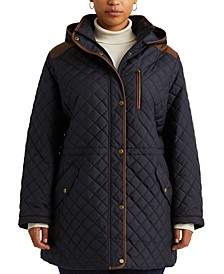 Plus-Size Quilted Hooded Anorak Coat, Created for Macy's