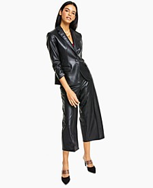 Faux-Leather Blazer, Camisole & Faux-Leather Cropped Pants, Created for Macy's