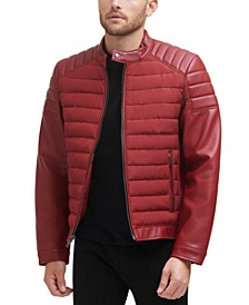 Men's Mixed Media Motocross Jacket with Quilted Shoulders