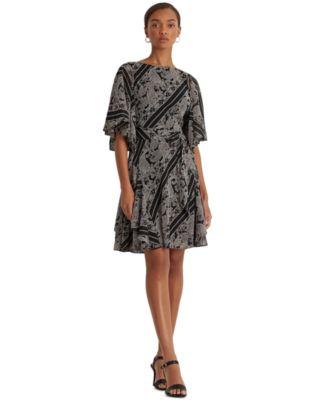 로렌 랄프로렌 Lauren Ralph Lauren Paisley Georgette Dress,Black/pink/multi