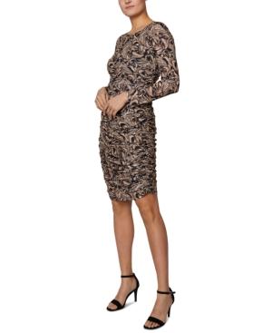 Ruched Long-Sleeved Mini Dress