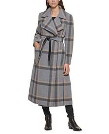 Petite Plaid Maxi Wrap Coat