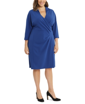 Plus Size Collared Side-Draped Dress