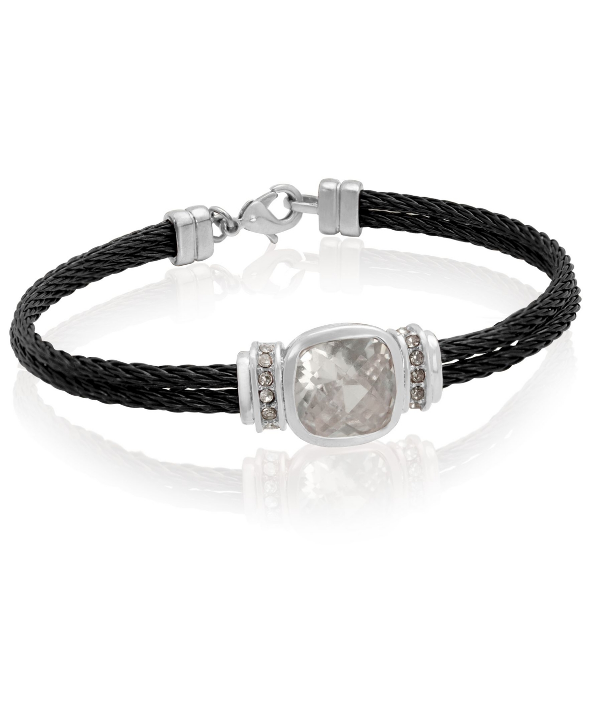 Grey and gold-tone stainless steel and crystal bracelet