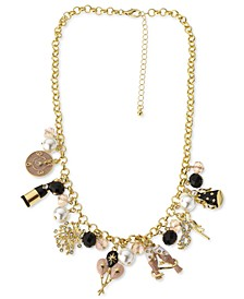 """Gold-Tone Crystal, Bead & Imitation Pearl Party Charm Necklace, 18"""" + 3"""" extender, Created for Macy's"""