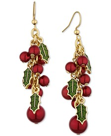 Gold-Tone Red & Green Holly Shaky Drop Earrings, Created for Macy's