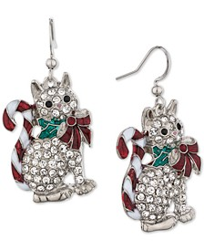 Silver-Tone Pavé Candytail Cat Drop Earrings, Created for Macy's