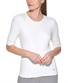 Petite Elbow-Sleeve Ribbed Top