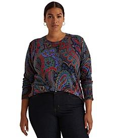 Plus-Size Paisley Crewneck Sweater