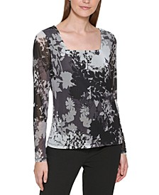 Floral Print Square Neck Long Sleeve Top