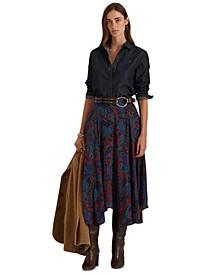Paisley Print A-Line Midi Skirt