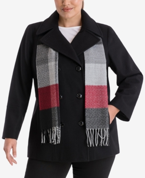 Plus Size Double-Breasted Peacoat & Scarf