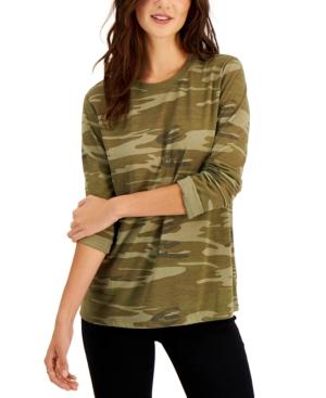 Juniors' Camo Long-Sleeve T-Shirt