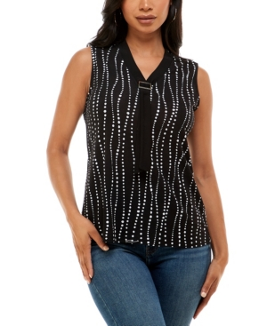 Women's Sleeveless Top with Contrast Neck Ties at Buckle