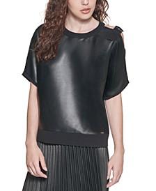 Faux Leather Shoulder Detail Top