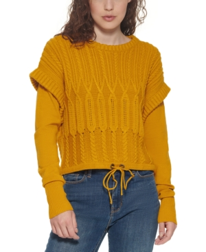 Cable-Knit Shoulder-Detail Sweater