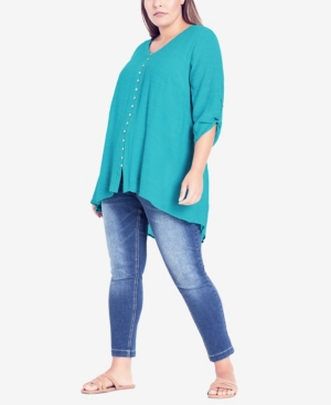 Plus Size Rory Button Top