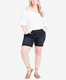 Plus Size Adley Distressed Shorts