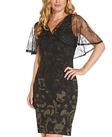 Metallic Embroidered Cape Dress