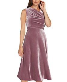 Asymmetric Velvet Fit & Flare Dress