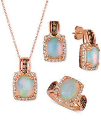 Opal (1-3/4 ct. t.w.) & Diamond (5/8 ct. t.w.) Drop Earrings in 14k Rose Gold