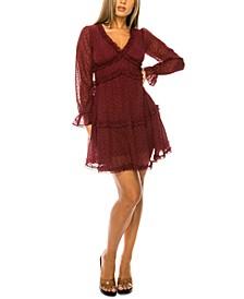 Juniors' Ruffled Dotted Dress