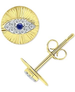 Lab-Created Blue Sapphire & Cubic Zirconia Evil Eye Disc Stud Earrings