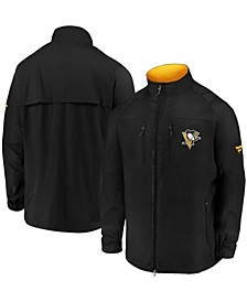 Branded Men's Black Pittsburgh Penguins Authentic Pro Locker Room Rink Raglan Full-Zip Jacket