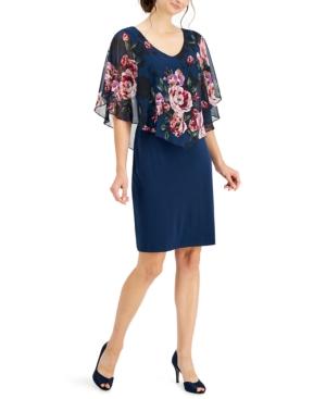 Chiffon Cape-Overlay Sheath Dress