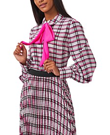 Camille Bow-Trim Plaid Blouse, Created for Macy's
