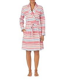 Women's Multi Stripe Knit Shawl Collar Robe with Pockets